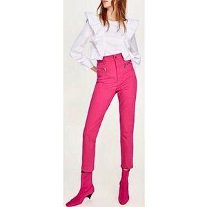 ZARA High Rise Pink Zipper Trouser Pants Jeans NWT